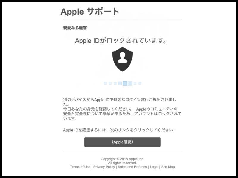 Apple IDを確認してくださいの内容