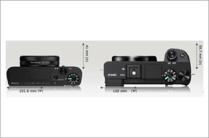 SONY RX100M6とα6400の上面の比較